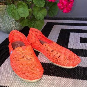 Toms Lace Neon Orange Flat 10
